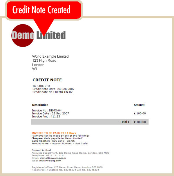 Create An Online Credit Note Online Invoicing System
