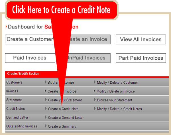 create an online credit note online invoicing system iinvoicing