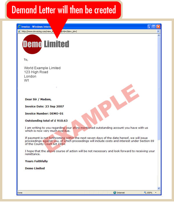 Create an Online Demand Letter – Invoice Letter