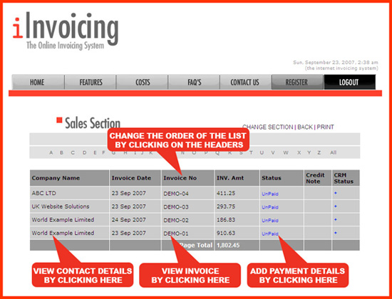 iinvoicing invoice online with the online invoicing system. Black Bedroom Furniture Sets. Home Design Ideas